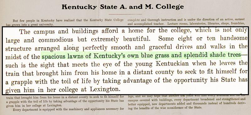 """Kentucky A & M yearbook 1903 touches upon the College's """"splendid shade trees"""""""
