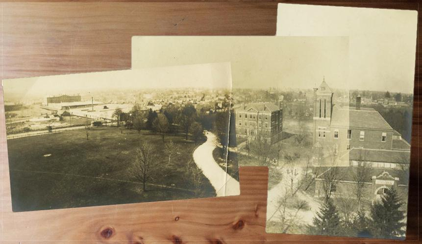 3 photographs from rooftop of Main (Administration) Building; looking north toward downtown Lexington (1912)