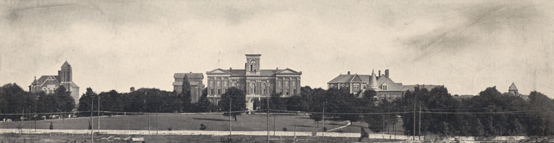 Panorama of Main Building and lawn, looking southwest across Limestone St. (1897)