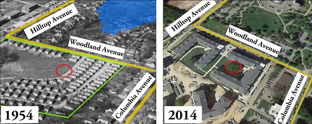 Aerial of Cooperstown WW2 veteran housing (1954), Google Earth© aerial of Woodland Glen student housing (2014)
