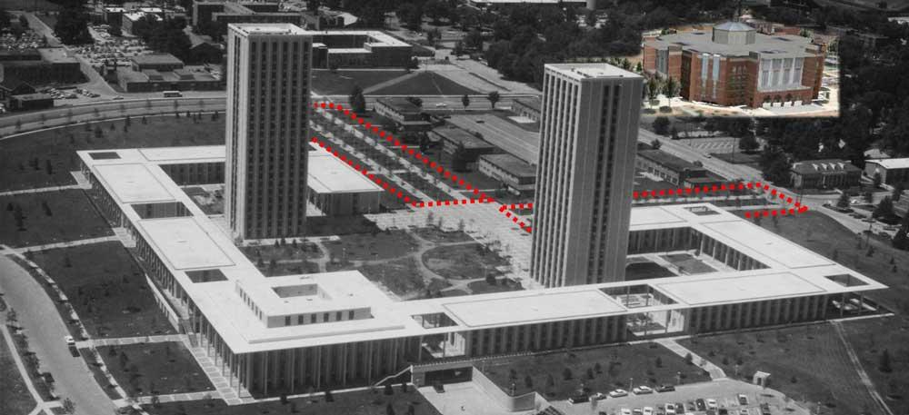 Aerial of Kirwan Blanding Complex; willow oaks outlined in red; Google Earth© 3D building model of W.T. Library for reference (1968) (UK Archives)