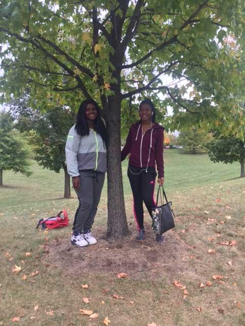 The favorite American sweet gum of Ge'Ona and Kayla in October 2016