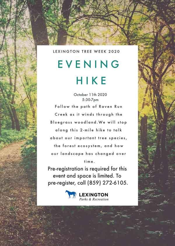 urban forest initiative tree week 2020 raven run hike