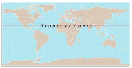 Tropic of Cancer shown on world map