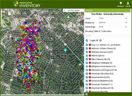 Urban Forest Initiative TreePlotter map