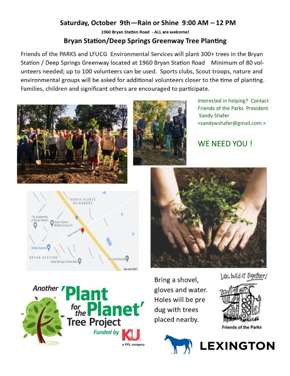 urban forest initiative tree week 2021 bryan station tree planting