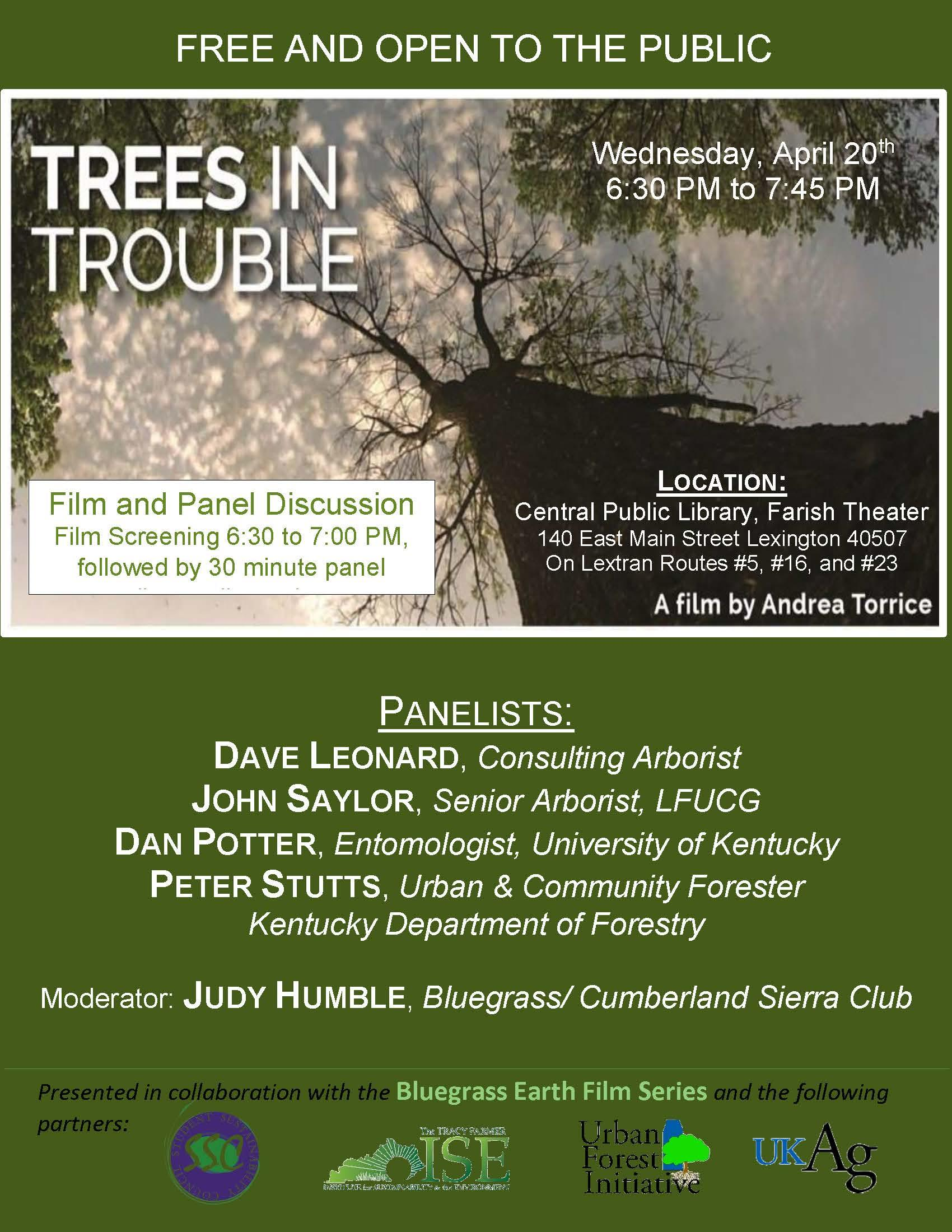 Flyer for film showing Trees in Trouble
