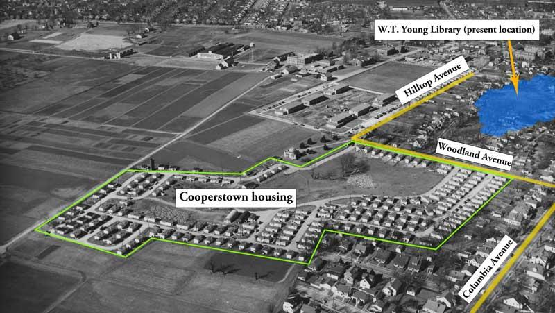 Aerial of Cooperstown WW2 veteran housing (1954) with present locations of streets and W.T. Young Library