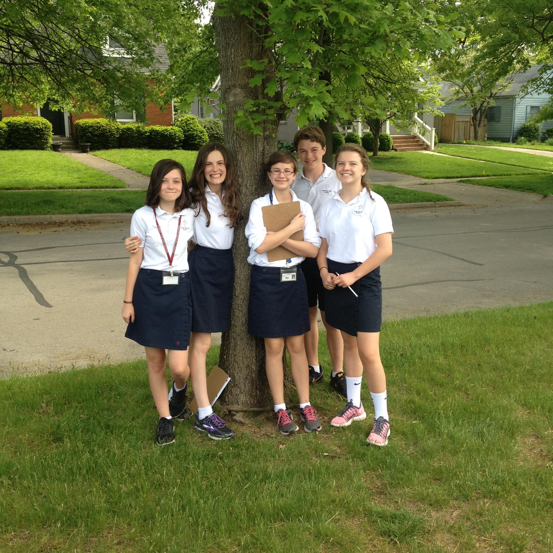 Chloe, Lauren, Daryn, Lucy Boone, Jospeh, Beau and their favorite scarlet oak near Christ the King School, April 2015 (K. Leonard)